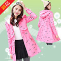 Students winter new windbreaker girls long section plus velvet thick cotton printing jacket (4-color optional)