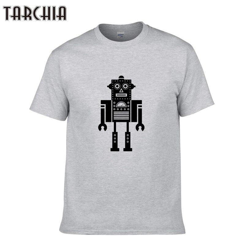TARCHIA Men's Tops Tees 2018 Summer Cotton O Neck Short Sleeve T Shirt Men Fashion Robot Print Slim T Shirts Mens Homme