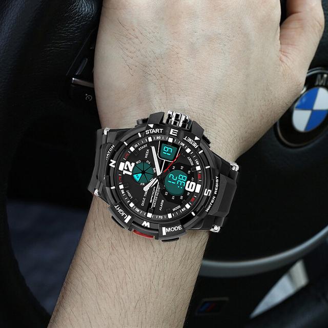 2016 Top Brand Relogio masculino Hombres Reloj Deportivo Para hombres Analógico Digital LED Reloj Impermeable Militar Del Ejército Relojes de pulsera de Cuarzo