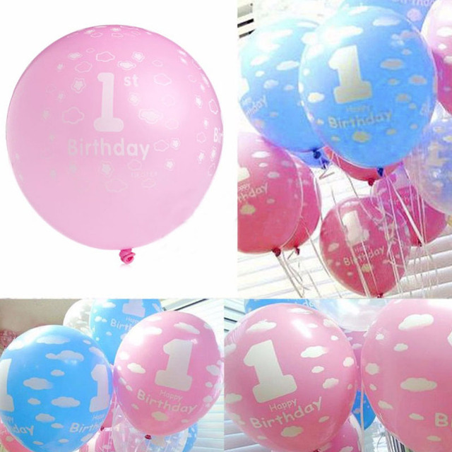 10pcs Pack 12 Inch 1 Year Old Anniversary Printed Number Latex Balloons Baby Birthday Party
