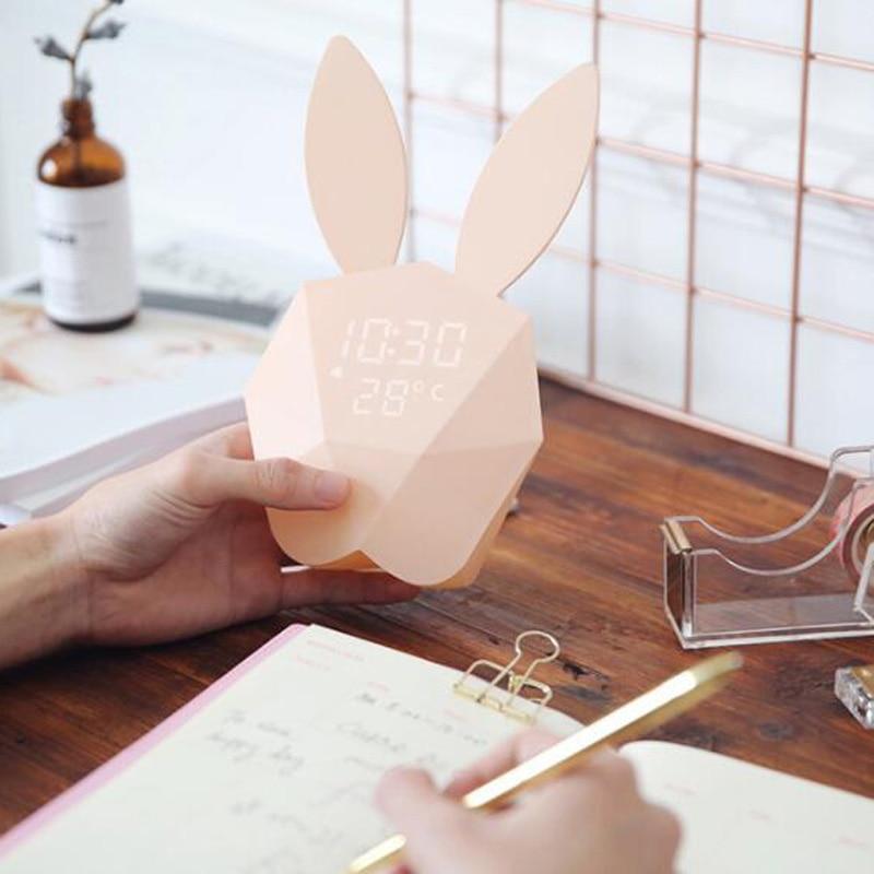 Home Decor Home & Garden Voice Control Led Alarm Clock Display Temperature And Calendar Snooze Sleep Function Decor Desktop Table Rabbit Clock Bedroom