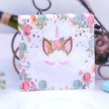 20pcs 33*33cm green flower Unicorn theme Paper Napkin Tissue for kids birthday party decoration
