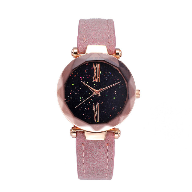 Women Dress Watches Pink Temperament PU Band Fashion Ladies Wristwatch Creative
