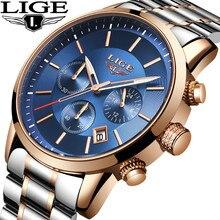 ساعات رجالية LIGE 2019 جديد الفولاذ المقاوم للصدأ مقاوم للماء ساعة رجالية موضة الأعمال ساعة اليد العلامة التجارية الفاخرة zegarek meski + صندوق