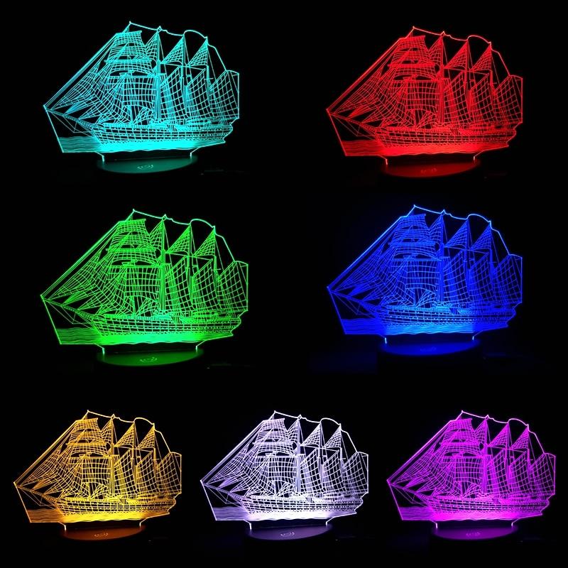 2018 3D Retro Ancient Sailing Sea Boat Ship LED Lamp Chinese Style Multicolor Illusion Night Light USB Table Desk Decor sea sailing ship boat compass silicone
