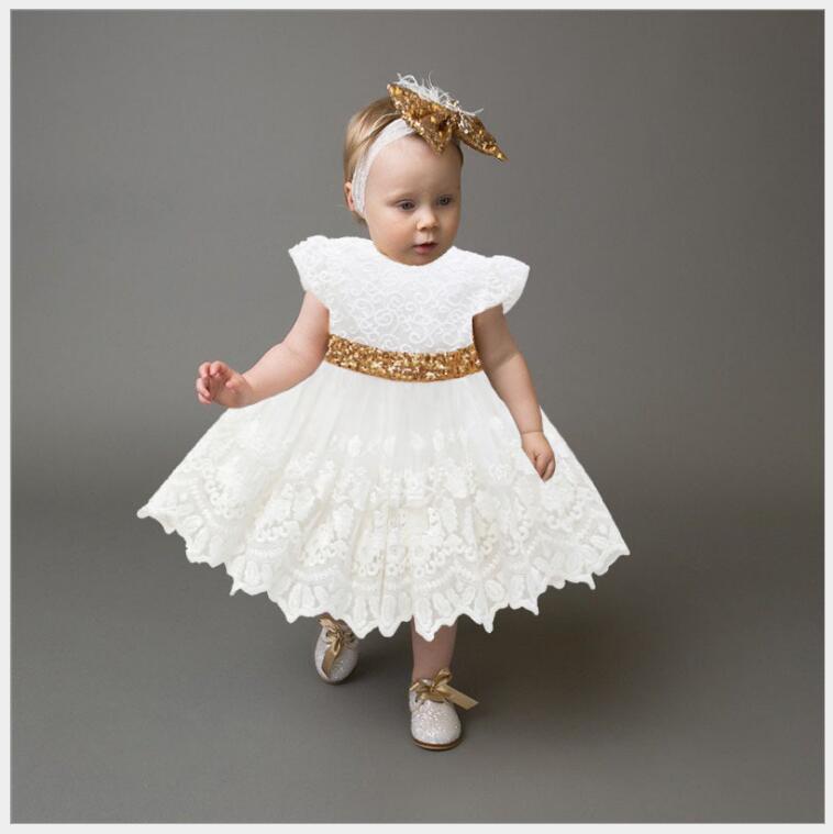 Infantile fille dos nu paillettes arc princesse robe enfant en bas âge fille été blanc dentelle robe de soirée petits enfants fille sans manches robe d'été