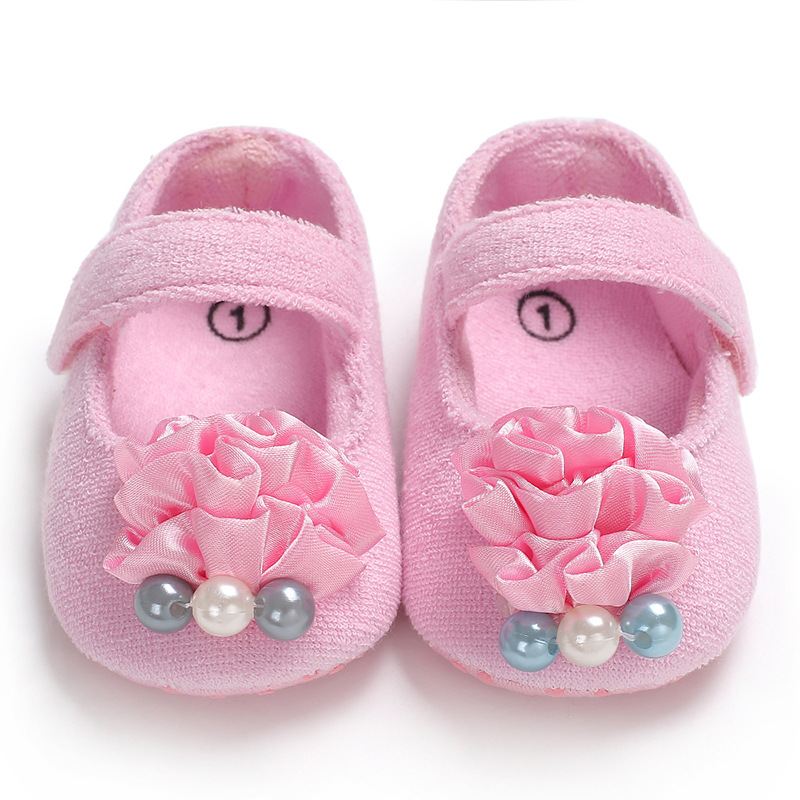 2019 Selling Pearl flower Baby Girls Cotton First Walker Toddler Infant Soft Sole Shoes Soft bottom Bebe Girls Shoes in First Walkers from Mother Kids