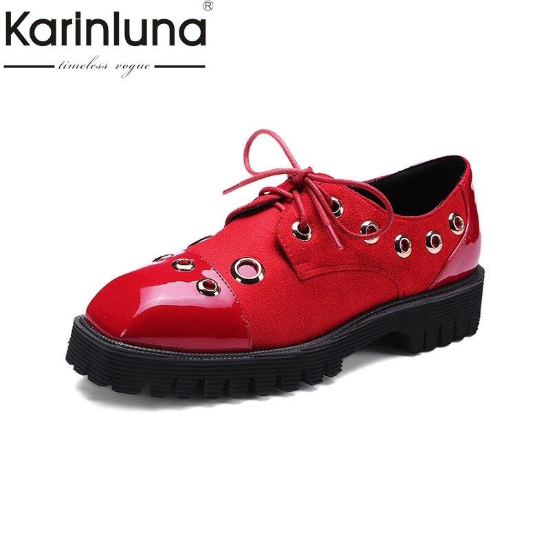 KarinLuna 2018 Spring Autumn Plus Size 32-45 Fashion Patent Leather Platform Shoes Woman Lace Up Metal Decoration Lady Shoe мужские ботинки spring autumn hightop size38 45 2