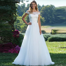 Princess Boho Wedding Dress Off The Shoulder Boat Neck A Line Tulle White/Ivory Appliques Vestido De Noiva Train Bridal Gown