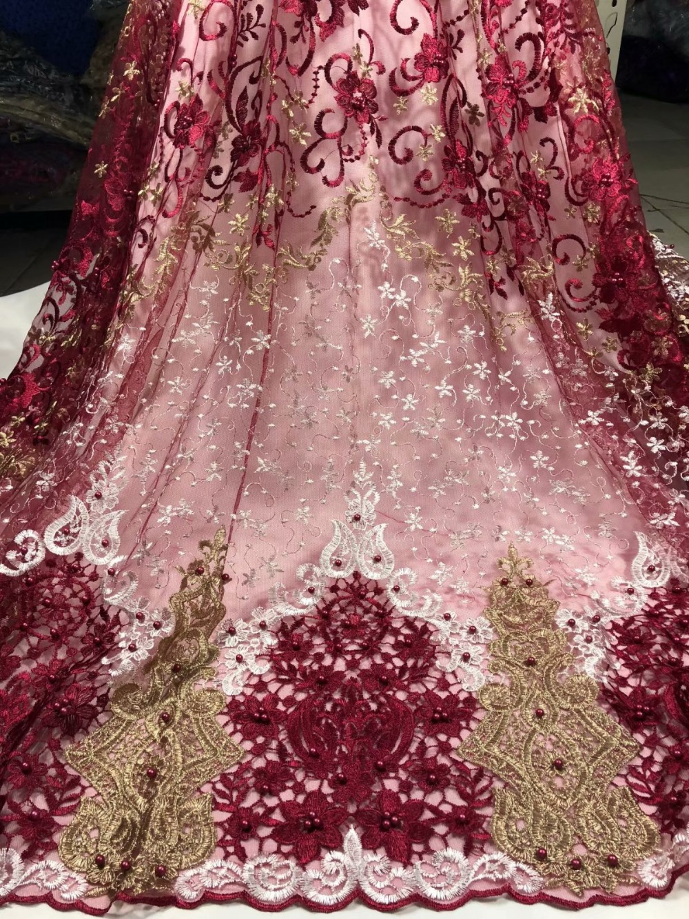 Wine Gold Color New Design African Lace Fabrics 2018 High Quality French Lace Fabric For Party