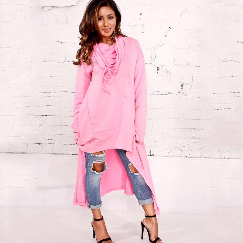 Marque Designer Charme 10 Couleurs Asymétrique Plus Hoodies Robe 4XL Plus La Taille Femmes À Manches Longues 2017 Automne Hiver Shirts