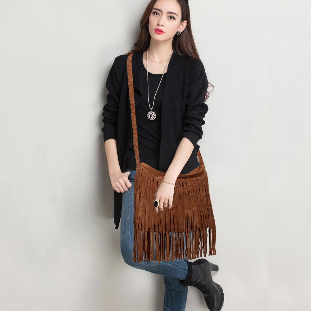 Women Tassel Fringe Shoulder Messenger Suede Handbag Cross Body Bag Purse