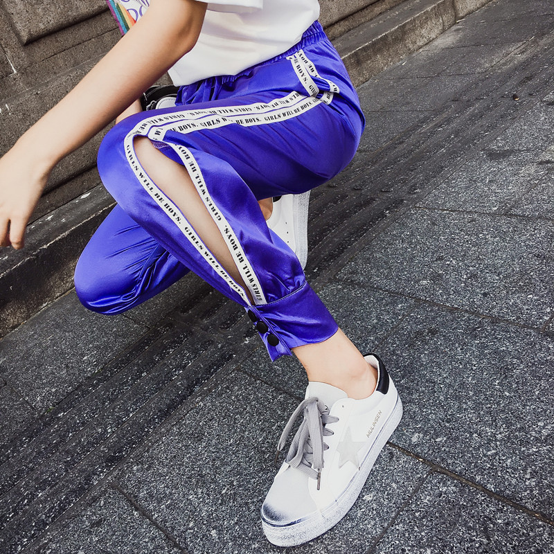 Hiphop purple sweatpants female hip hop Korean version of the tide student loose Dance pants 17