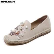 TINGHON spring women loafers cane hemp straw fisherman flat heel shoes rhinestone faux pearl espadrilles woman slip on flats