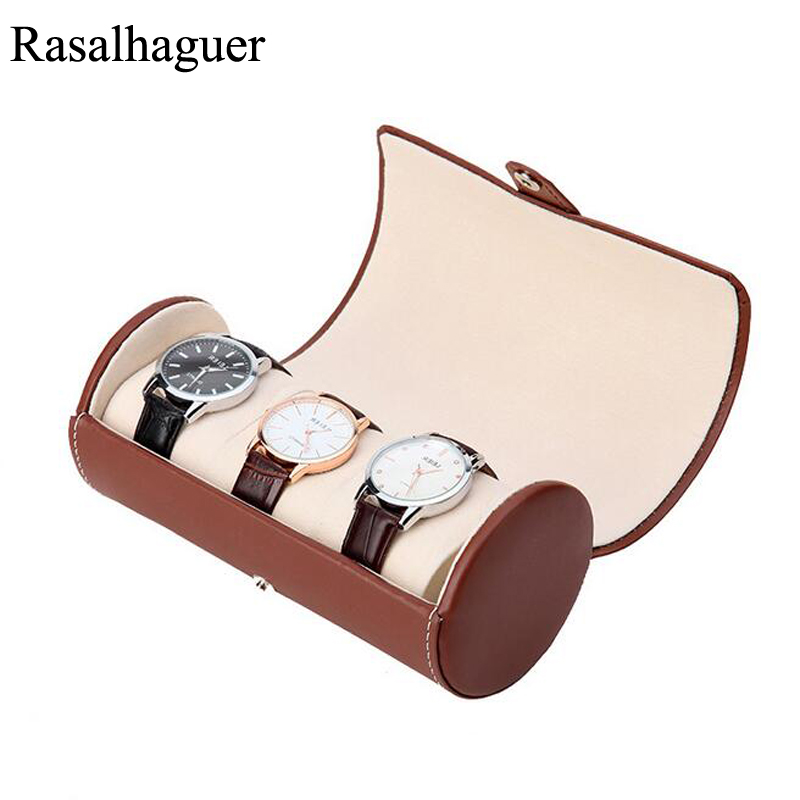 New 3 Slot Luxury Watch Display Gift Box Case Roll Wristwatch Necklace Bracelet Jewelry PU Leather Box Storage Travel Pouch