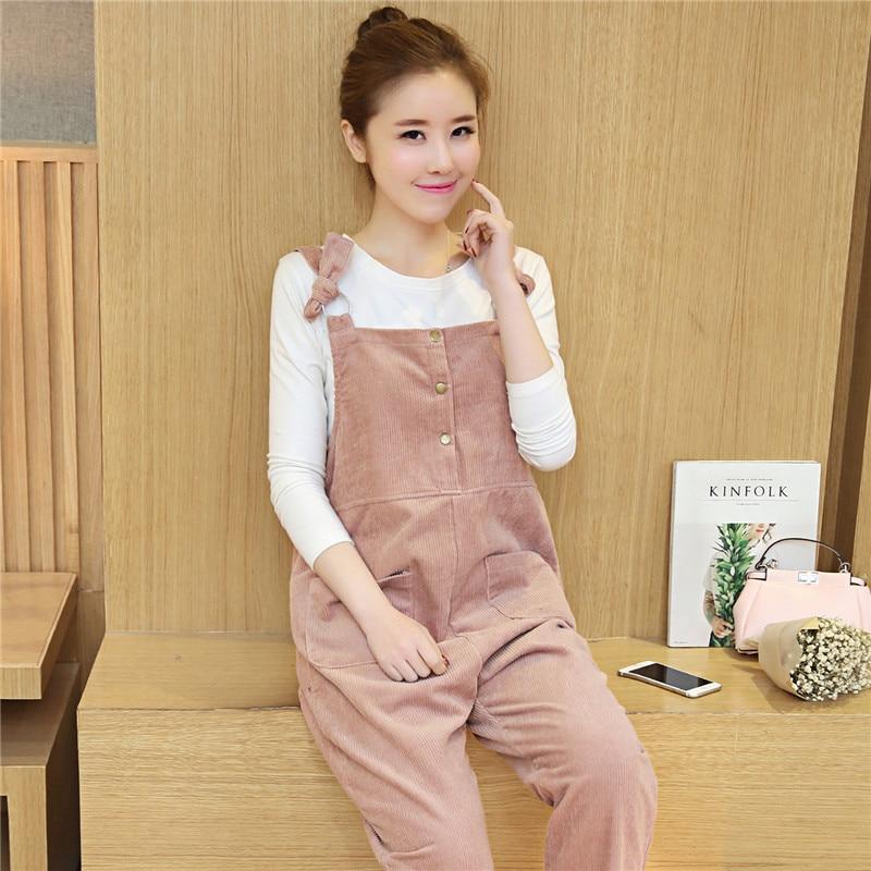 d586e30df77e 2018 winter pregnancy clothes maternity jumpsuits corduroy overalls for pregnant  women cotton loose fit maternity bib