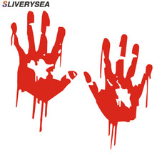 SLIVERYSEA 19*16cm Zombie Bloody Hands Print Fun Vinyl Waterproof Car Sticker Motorcycle Window Decal Accessories Red #B1158