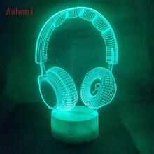 Best Gift 3D DJ Headphone Illusion Light Studio Music Monitor Headset Coloful hifi music Earphone LED Lamp In Bedroom Decoration