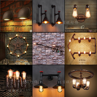 retro bar wall lamp wall lamp industry personality sitting room dining room decorates lamp, wrought iron pipe wall lamp