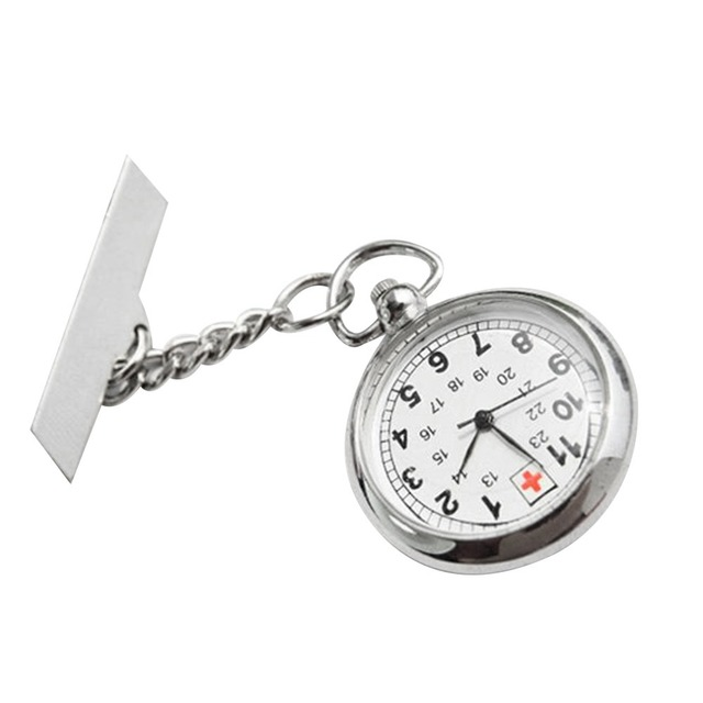 Large Face Nurses Pocket Fob Watch On A Bar With A Brooch Back Silver Color Prom