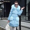 Nueva Moda Más Tamaño de Las Mujeres de invierno Chaqueta acolchada Delgado largo Abajo chaqueta de algodón Grueso Abrigo de cuello de Piel Con Capucha Parkas chaqueta