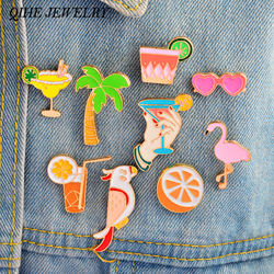 QIHE JEWELRY Pins and brooches Flamingos Sunglasses Orange Drink Enamel pins Badges Lapel pins Women Summer Beach Jewelry