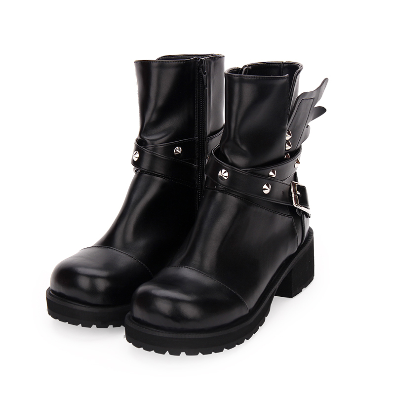 Fashion Winter Women High Heels Platform Short Boots Dark Punk Rivets Wing Muffin Shoes New Female Large Size Gothic Boots