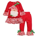 NEW Christmas Children Clothing Halloween Girls Fawn Skirt + Striped Pants 2piece Outfit Girls Clothes Red Free Shipping