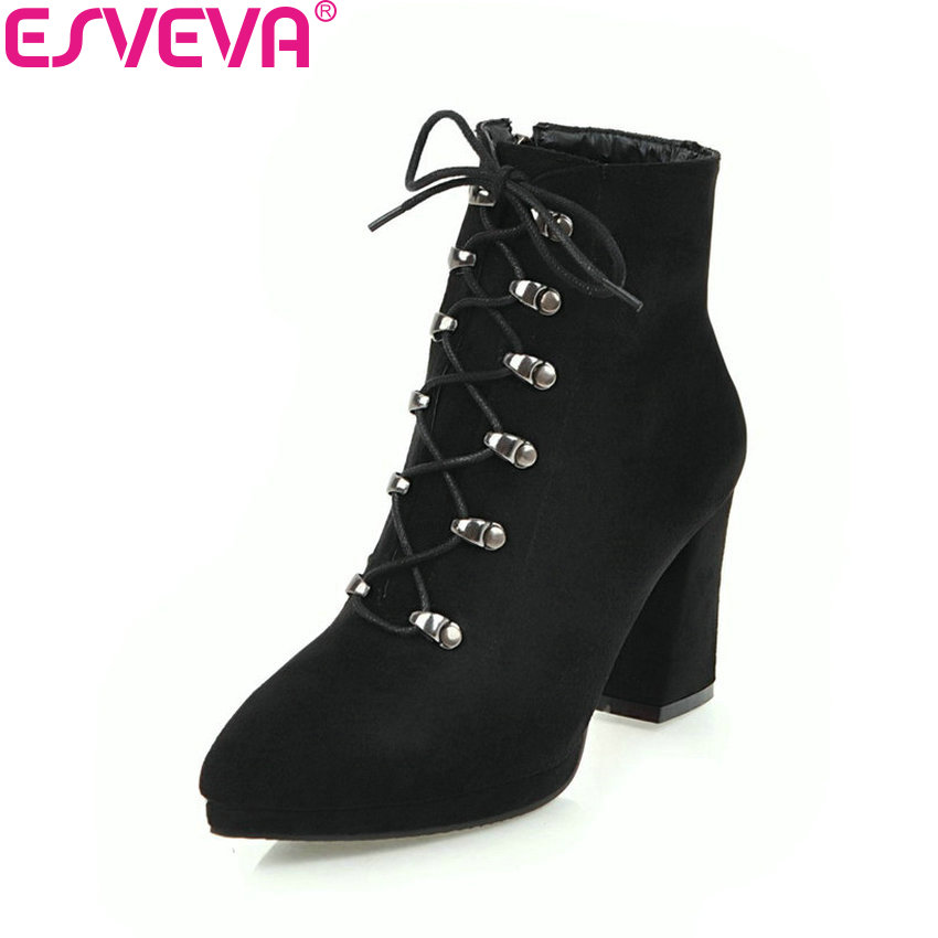 ESVEVA 2018 Women Boots Concise Square High Heel Short Plush Ankle Boots Pointed Toe Autumn and Spring Ladies Boots Size 34-43 esveva 2018 women boots zippers black short plush pu lining pointed toe square high heels ankle boots ladies shoes size 34 39 page 8