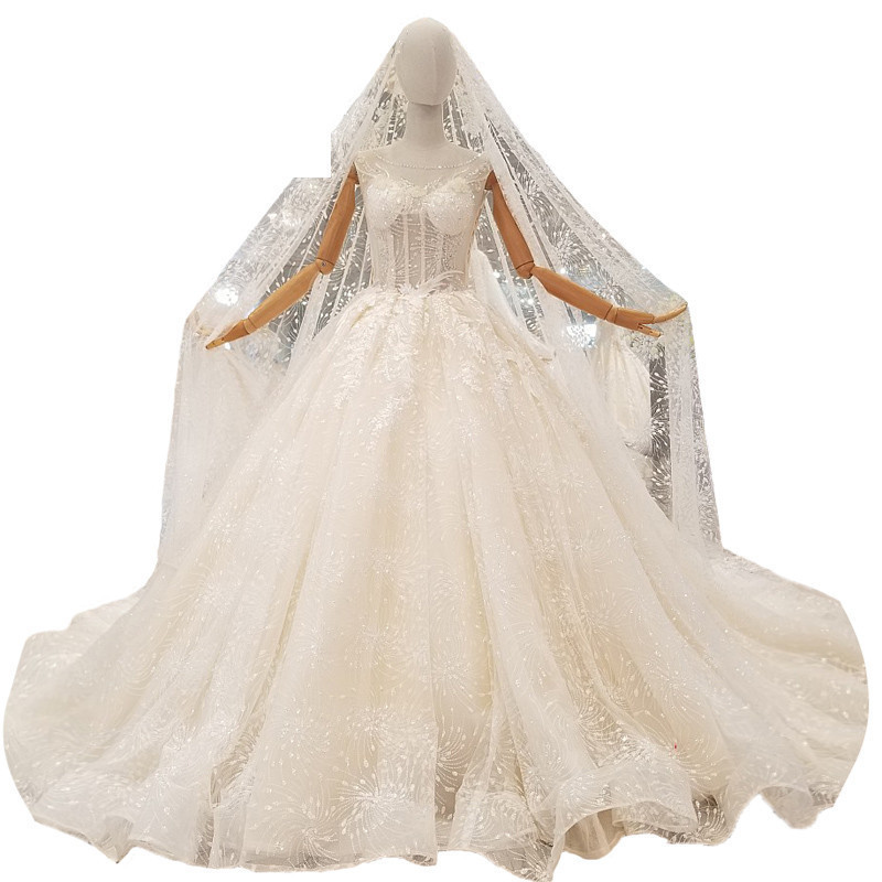 2018 New Champagne Ivory Lace Sleeveless Scoop Long Train Bridal Gowns Illusion Ball Gown Vintage Wedding Dresses With Long Veil