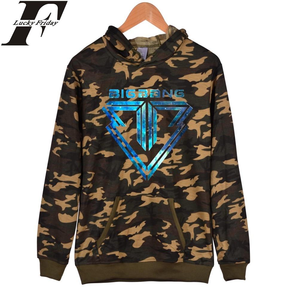 LUCKYFRIDAYF Bigbang HotSale Camouflage Hoodies Harajuku Men Sweatshirt And Bigbang Cartoon Battle Fatigues Pullover Sweatshirts