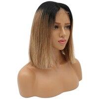 Beeos 130% бесклеевого человеческих волос парики Ombre светлые прямые короткие боб парик предварительно сорвал бразильский Волосы remy отбеленные