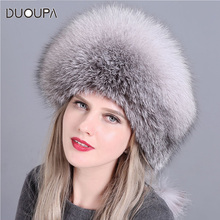 DUOUPA 2019 Fashion New Style Luxury Winter Russian Natural Real Fox Fur Hat Women Warm Good Quality 100% Genuine C