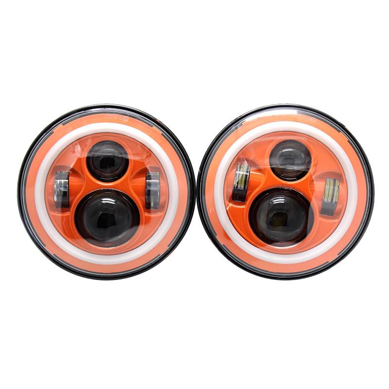 """""""7 """"""""дюймовый из светодиодов гало фары комплект оранжевый красный синий цветные H4 автоматические фары с углом глаза для Wrangler JK виллиса защитник ти Джей Хаммер"""""""