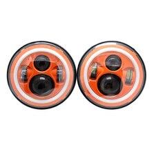 """7 """"zoll led-scheinwerfer halo kit orange rot blau farbige h4 auto scheinwerfer Mit Winkel Auge Für Jeep Wrangler JK TJ Hummer Defender"""