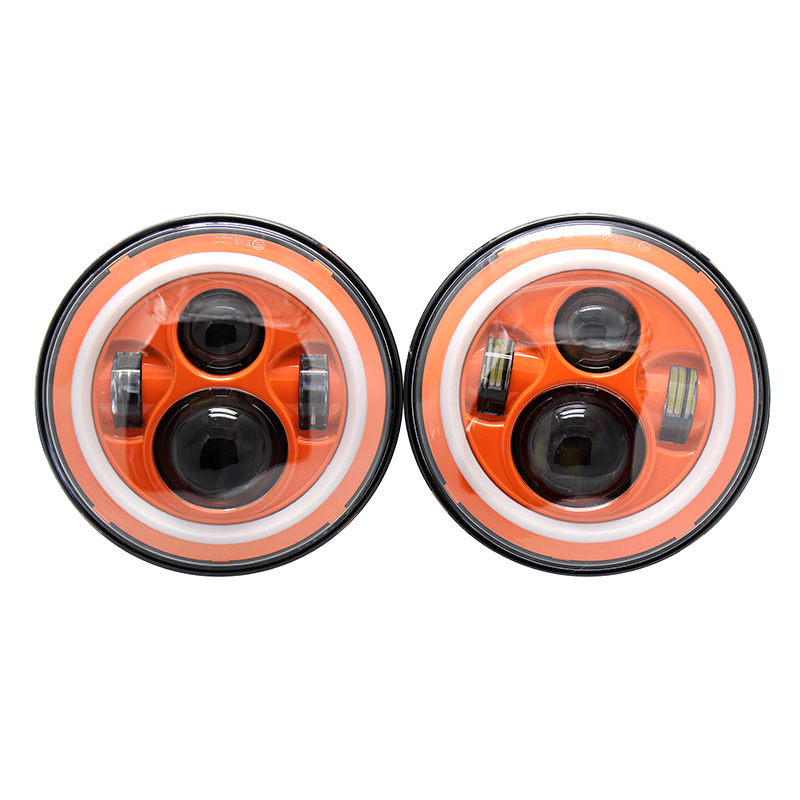 "7 ""inch <font><b>LED</b></font> Halo Headlights Kit Orange Red Blue Colored H4 Auto Headlight With Angle Eye For Jeep Wrangler JK <font><b>TJ</b></font> Hummer Defender"