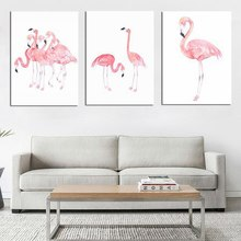 Pink Flamingo Decorative Painting Hallway Bedroom Wall Pictures for Living Room Garden Decoration Canvas Art Posters and Prints(China)