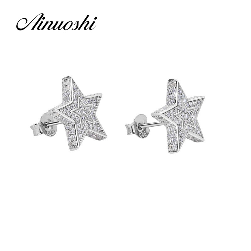 AINUOSHI Luxury 925 Sterling Silver Earring for Women Wedding Halo Stars Stud Earring Jewelry Gift pendientes plata de ley mujerAINUOSHI Luxury 925 Sterling Silver Earring for Women Wedding Halo Stars Stud Earring Jewelry Gift pendientes plata de ley mujer
