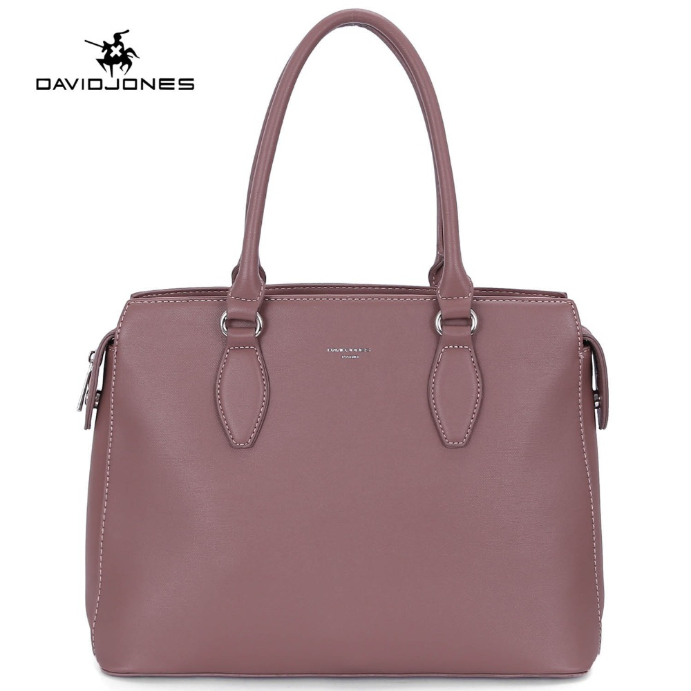 DAVIDJONES women tote bags faux leather female shoulder bags large lady solid handbag girl brand messenger