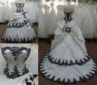 ANGELSBRIDEP Vestidos De Novia White Black Ball Gown Wedding Dresses 2019 Sexy Top Corset Court Train Formal Bridal Gowns Hot