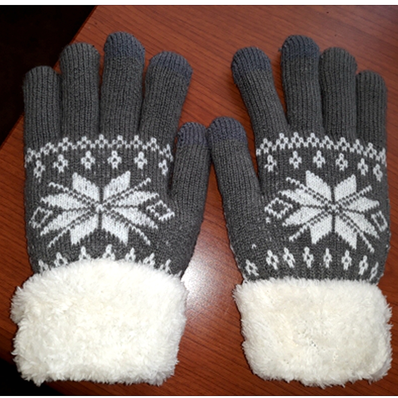 2017 Warm Winter Female Gloves Wool Knitted Wrist Gloves Women Men Snowflake Pattern Full Finger Unisex Gloves Mittens All Match