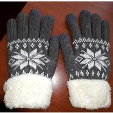 Gloves Knitted Snowflake-Pattern Wool Female Warm Winter Women Full-Finger Wrist Unisex
