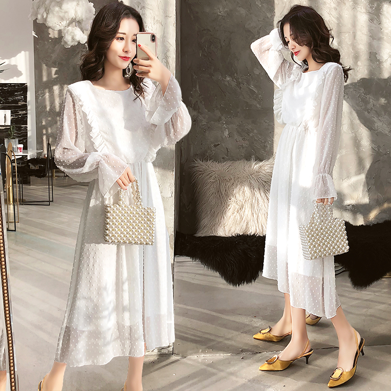 Image 3 - Susi&Rita Spring Chiffon Dress Women Vintage Long Sleeve Ruffled Party Dress Summer Sexy Ladies Beach Dress Vestidos Strand Jurk-in Dresses from Women's Clothing
