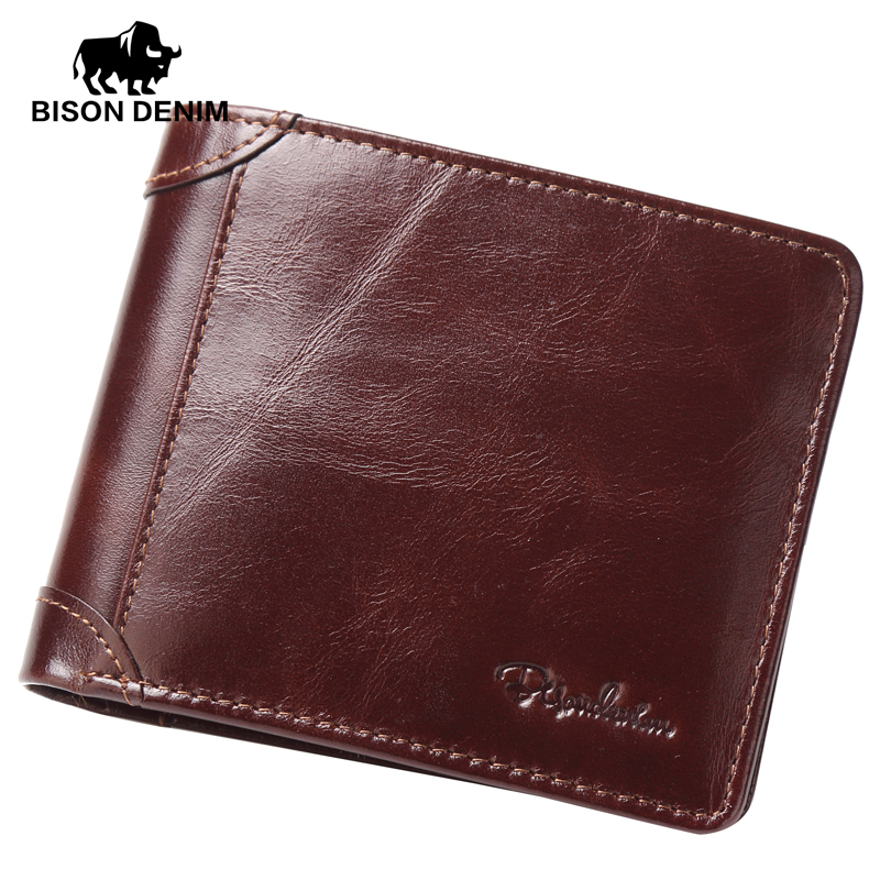 BISON DENIM High Quality Red Brown leather genuine wallet men purse card holder Brand men wallets dollar price W4361