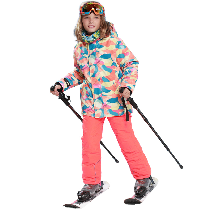 Mioigee 2018 Jacket+pant 2pcs Sets Winter -20-30 Degree Outdoor Warm Ski Sport Suit for Boys Kids Clothes Windproof Waterproof mioigee 2018 boys and girls ski jacket pants 2pcs sport suit for boys children outdoor ski sets hooded windproof waterproof
