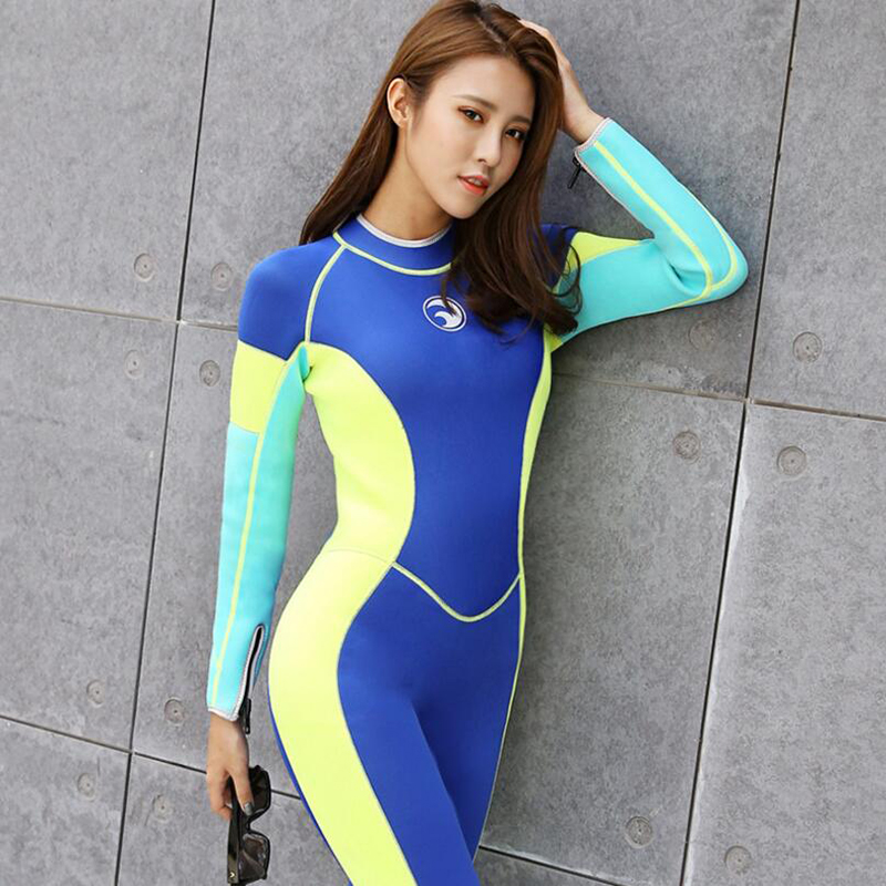 Women Wetsuit 3mm Long Sleeve One piece Swimwear Diving Suit Swimming Girls Thermal Snorkeling Surfing Winter Diving Clothes men s winter warm swimwear rashguard male camouflage one piece swimsuit 3mm neoprene wetsuit man snorkeling diving suit