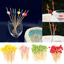 New 100Pcs 12cm Disposable Bamboo Heart Skewer Fruit Dessert Cake Sign Cocktail Pick Cute Food Stick Buffet Cupcake Topper Party(China)
