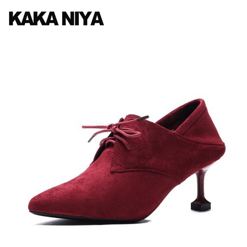 2017 Party Shoes For Women High Heels Size 4 34 Suede Pointed Toe Medium Lace Up Scarpin Office Pumps Classic Red Spring New