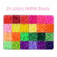 24 Colors Hama Beads 5mm Perler Beads 2400 Pcs Craft DIY Handmaking Fuse Creative Intelligent Educational