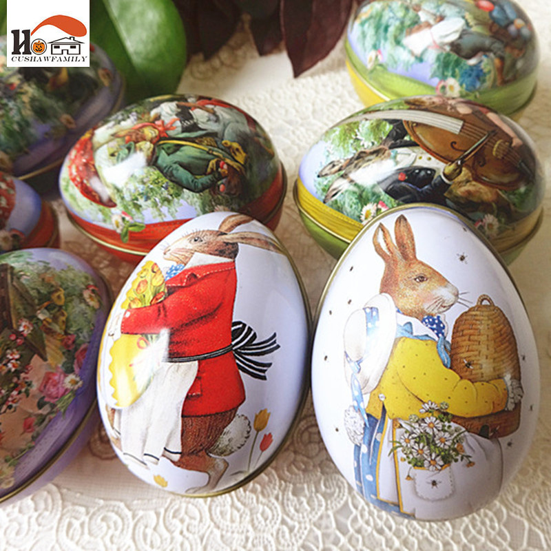 CUSHAWFAMILY 1 pcs Small Easter egg iron receive box candy storage box wedding favor tin ...